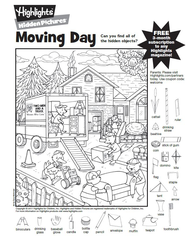 Check us out in Highlights Magazine! Can you find all of the fun moving day objects?