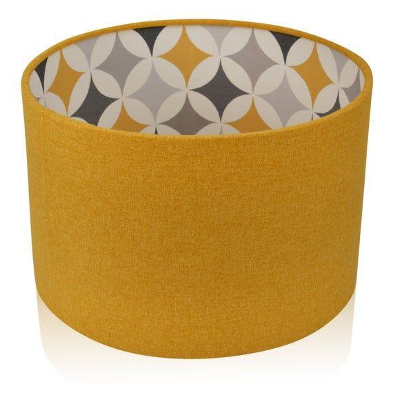 Yellow Drum Lampshade Geometric Vintage Lamp Shade Uk Made