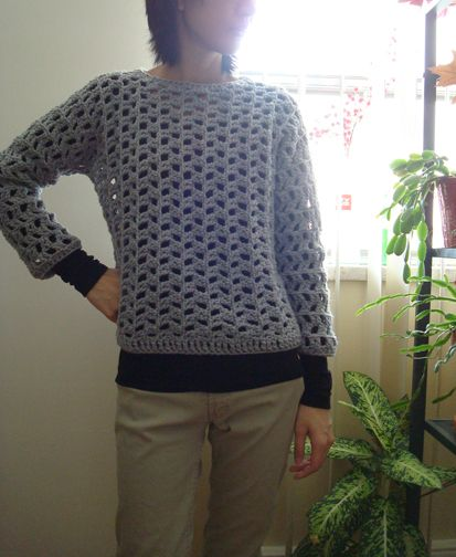 Sideways is a pullover that is worked in one piece in a sideways manner, from one sleeve cuff to the other, forming a herringbone-like pattern. Then it is folded in half along the shoulders, with t…