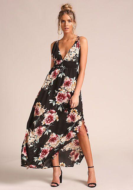220644bcf5ddd Junior Clothing | Black Floral Smocked Slit Maxi Dress - Guest ...