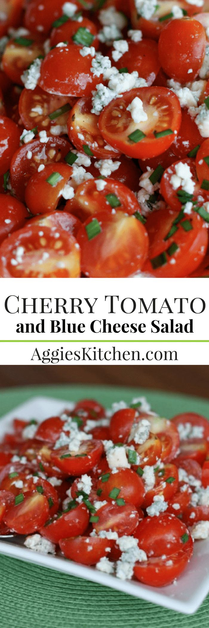 A simple summer salad full of fresh garden cherry tomatoes and savory blue cheese. This Cherry Tomato and Blue Cheese Salad is excellent for summertime picnics and barbecues! via @aggieskitchen