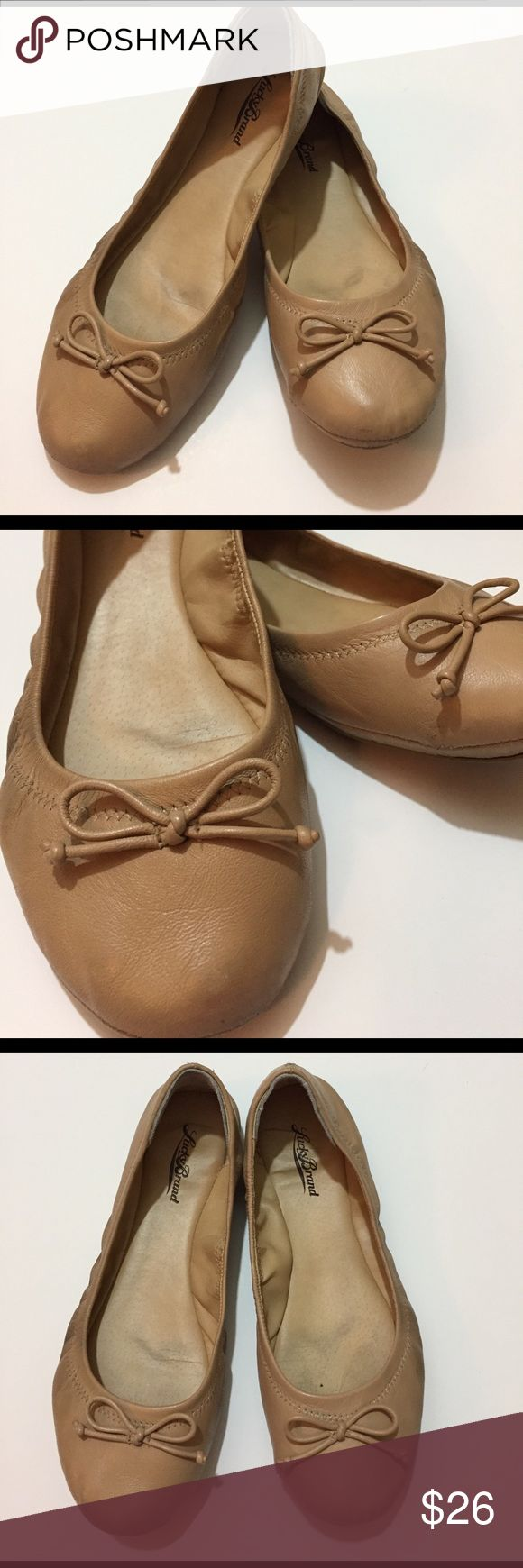 Lucky Brand ballet slipper - leather Super duper soft like butter! Nude leather ballet flats by Lucky Brand. Some scuffing on sides and a few stitches coming undone on left shoe. Lots of life left in these. Super cute. Lucky Brand Shoes Flats & Loafers