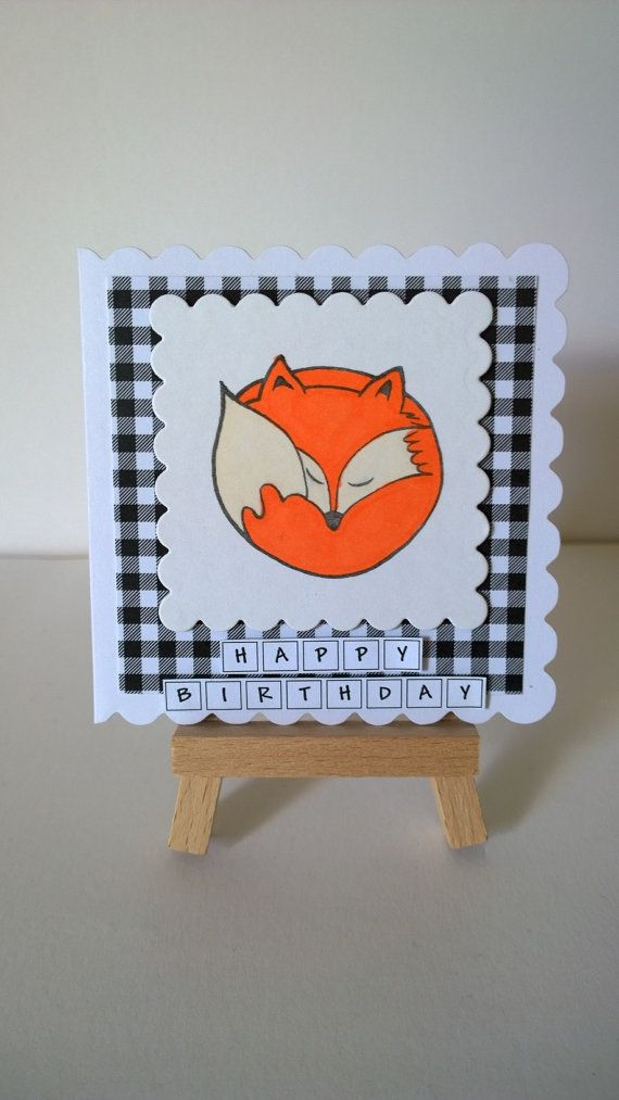 Handmade Fox Birthday Card by Lazymitts on Etsy