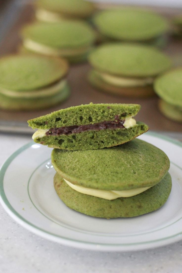 Matcha pancake Redbeanpaste and butter