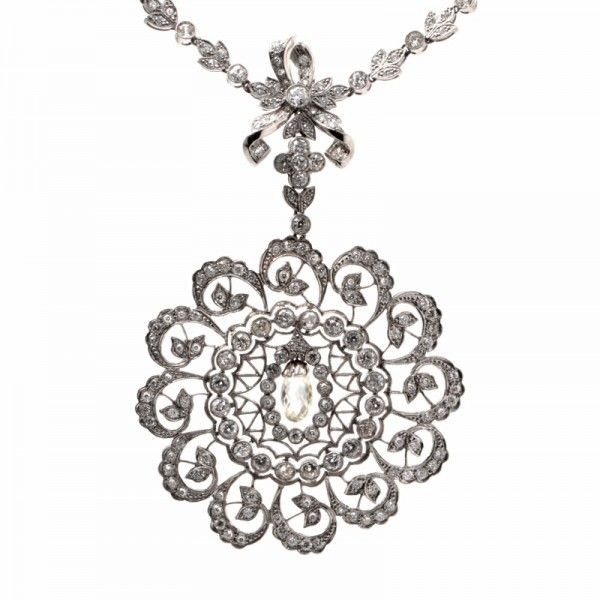 125 best antique pendant necklace images on pinterest vintage 1857ct diamond platinum filigree pendant necklace 584 grams item 574906 mozeypictures Image collections