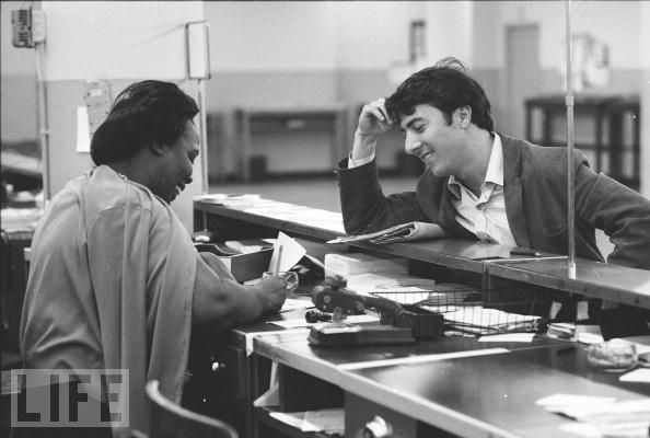 Dustin Hoffman collecting unemployment checks after starring in The Graduate (possibly 1968)