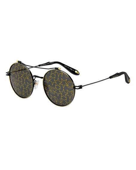 b10b274074 Givenchy Logo   Star Printed Round Sunglasses  givenchy  sunglasses ...