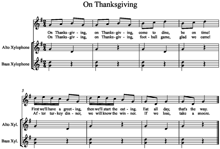 "Thanksgiving song sung to the tune of ""Frere Jacques"", with Orff accompaniment"