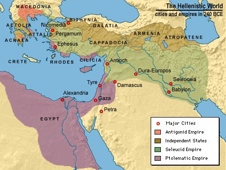 This is a map of the Hellenistic world including the cities and empires 240 BCE
