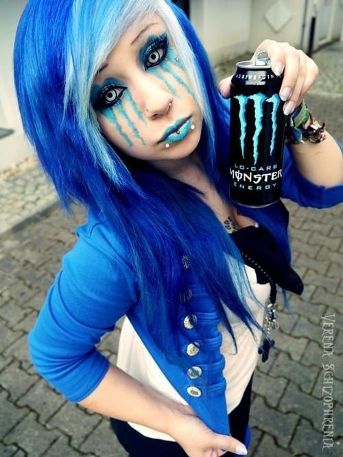 Verena Schizophrenia monster makeup blue white scene hair :3