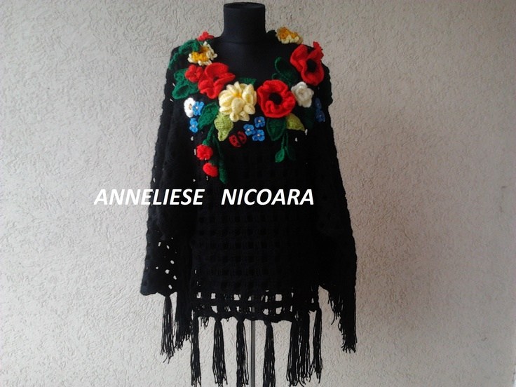 crochet women poncho with wild flowers/ crochet poncho, crochet summer flower poncho , boho , handmade poncho ,Hippie Bohemian poncho