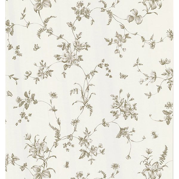 sample vivace floral trail wallpaper in black and white by brewster ho