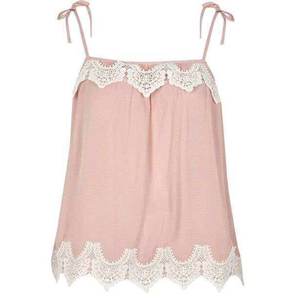 River Island Pink cutwork lace tie shoulder cami top (14.145 HUF) ❤ liked on Polyvore featuring tops, cami / sleeveless tops, pink, women, lace tank, pink tank top, lace cami tank, pink tank and loose fitting tank tops