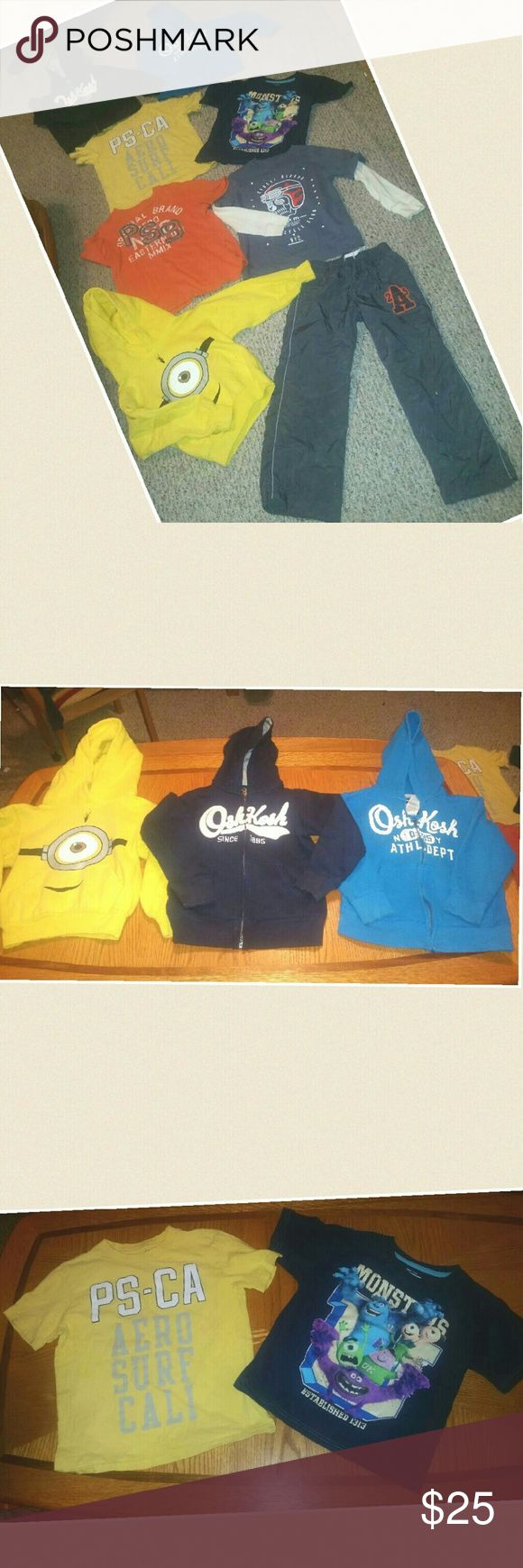 BOYS HOODIES, TEES AND PANT BUNDLE - SIZE 6 ** YELLOW HOODIE - ( SMALL 6 - 8 ) 80% COTTON AND 20% POLYESTER. ..( HAS VERY MINOR PEELING ON PRINT  ** NAVY BLUE OSH KOSH HOODIE - 6   ** LIGHT BLUE OSH KOSH HOODIE -  6 (  ( HAS SMALL WHITE SPOT AT HEMLINES. .  ** YELLOW AEROPOSTALE T- XS 7 (100% COTTON ** MONSTERS PIXAR BLUE T  -  7  (100% COTTON) ** ORANGE AEROPOSTALE T - XS 7  (100% COTTON ** GREY L/ SLEEVE GAP KIDS T - S 6-7 (100% COT ) ** CHILDREN PLACE SWEAT PANTS - 6 ( HAS VERY SMALL TEAR…