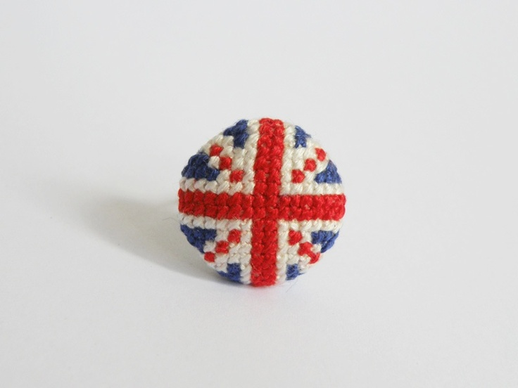 Union jack cross stitch ring by Her Sweet  Embrace