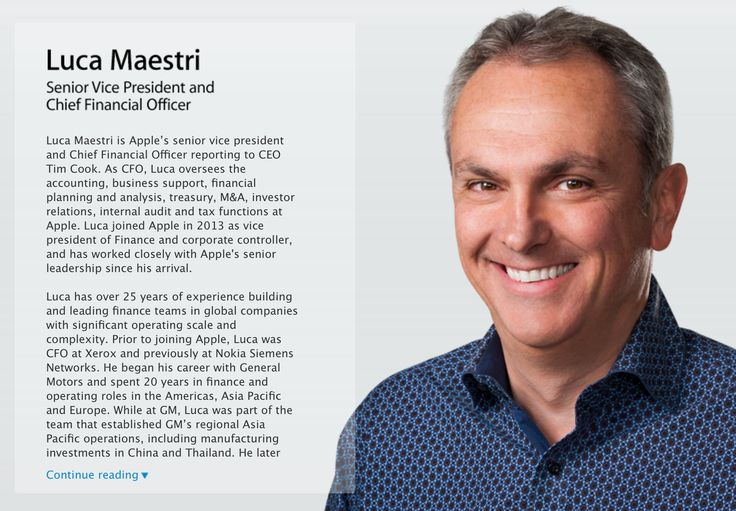 New Apple CFO Luca Maestri gets his profile on Apple's website ::: After officially succeeding Peter Oppenheimer as Chief Financial Officer and Senior Vice President late last month, Luca Maestri's headshot and biography have appeared on Apple's website. Here's th...
