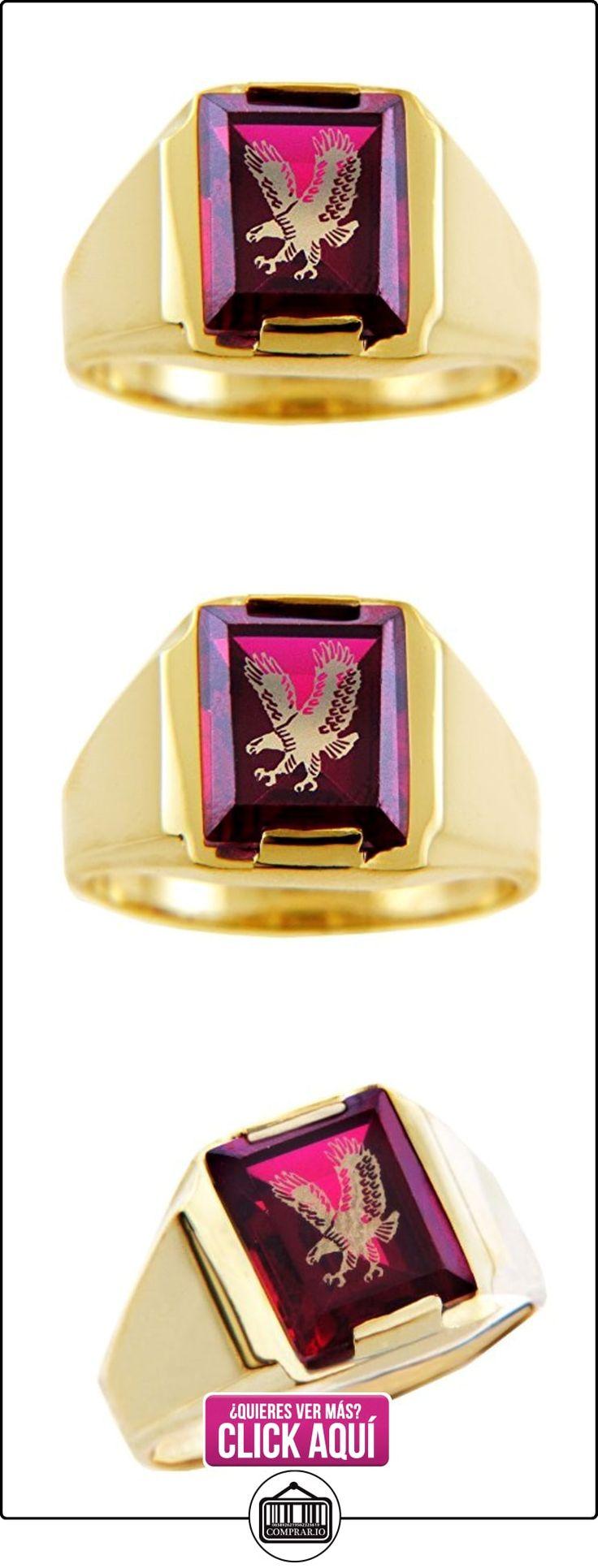 Pequeños Tesoros - Anillos Hombres Alianza De Boda 10 Kt Oro 471/1000 Oro - Granate Rojo Piedra Con Oro Águila  ✿ Joyas para hombres especiales - lujo ✿ ▬► Ver oferta: https://comprar.io/goto/B012781VLE