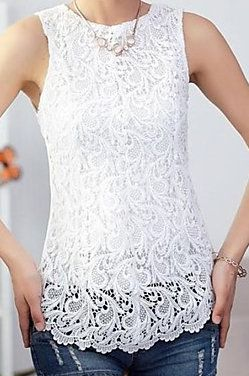 Sleeveless Flower Lace Shirt