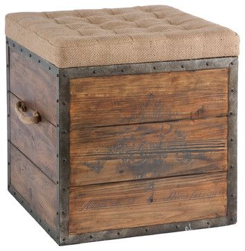 French Country Wood Crate Burlap Top Cube Ottoman  Transitionnel Repose Pieds Pouf