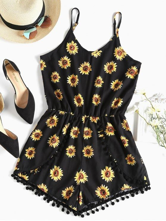 ef747d6bea Pompom Sunflower Cami Cute Romper - BLACK S