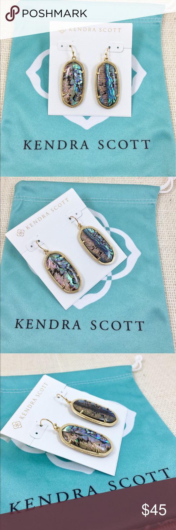 """Kendra Scott Elle gold tone abalone earrings Kendra Scott Elle abalone earrings. 14K gold plated over brass. Size: 1.44""""L x0.69""""W on earwire. New with Kendra Scott earrings card and pouch. No tags. Kendra Scott Jewelry Earrings"""