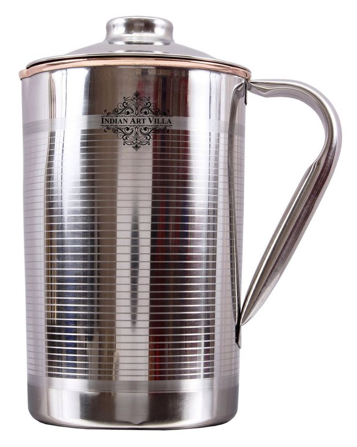 Steel Copper Lining Design Jug Pitcher|Serving Water|Ayurveda Healing|Volume 2000 ML