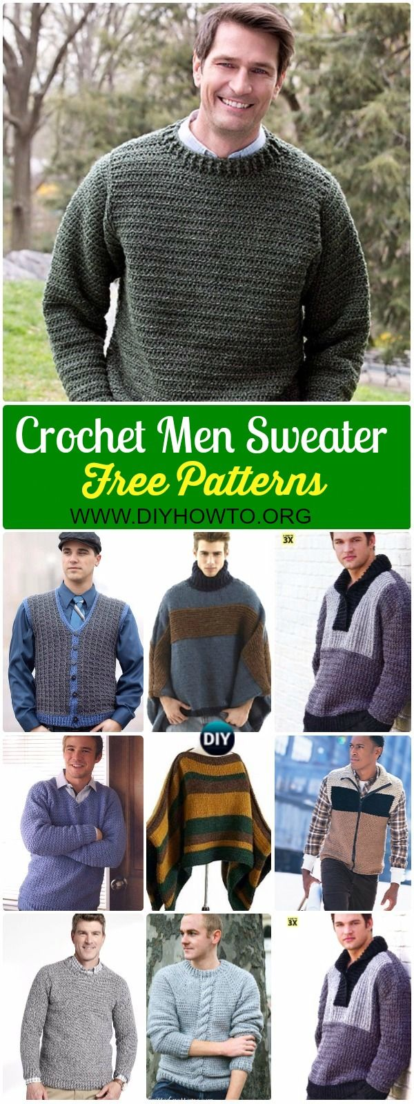 Collection of Crochet Men Sweater Free Patterns & Tutorials: Crochet Man Vest, Cardigan, Pullover sweater, poncho and more via @diyhowto