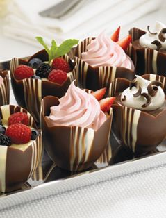 I have used these and they make a beautiful dessert. Chocolate moulds, desserts, strawberries, mousses