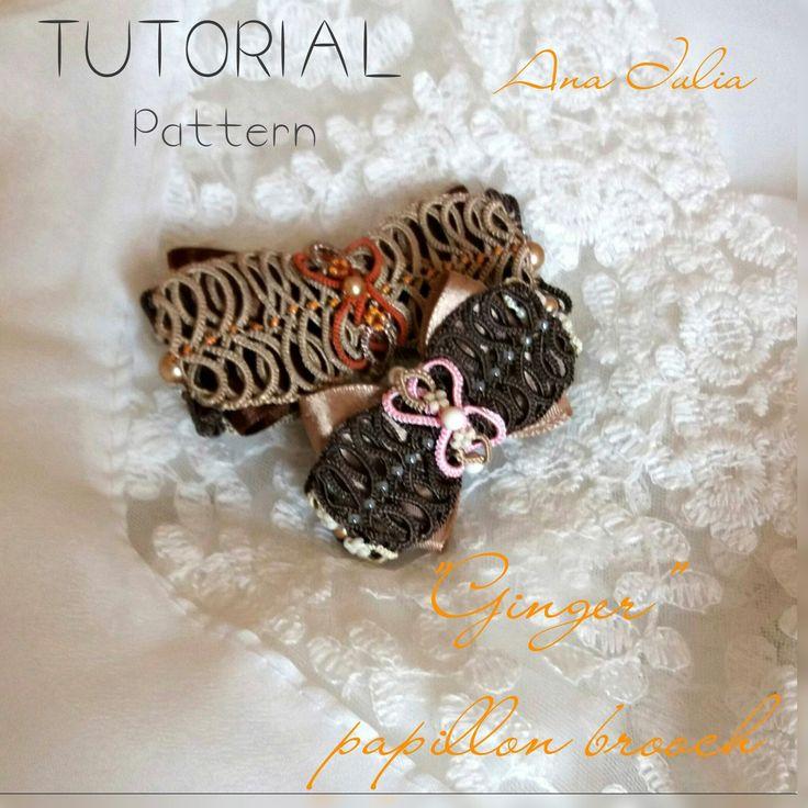 Ginger - Ankars Tatting  papillon /bow brooch TUTORIAL/Pattern by AnaIuliaTattingLace on Etsy