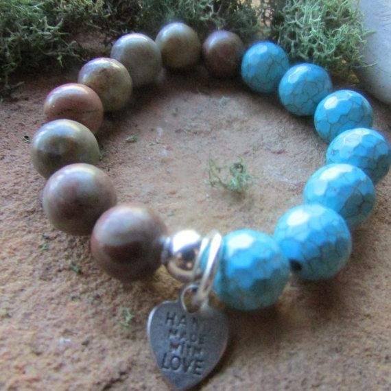 Handcrafted Brown agate and Blue Howlite by canyonviewjewelry