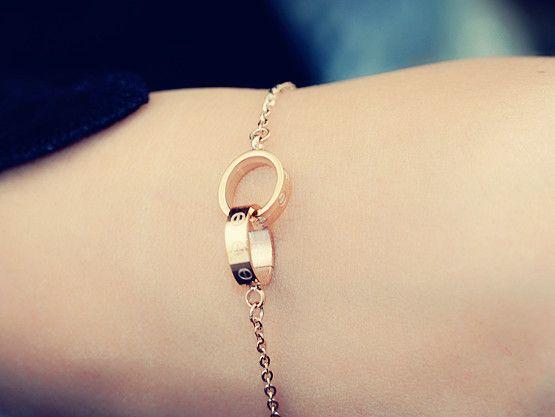 Стали корейских ювелирных титана розовое золото браслет Улучшенный цветоустойчивостью бициклическая овальной женский подарок S048-Taobao