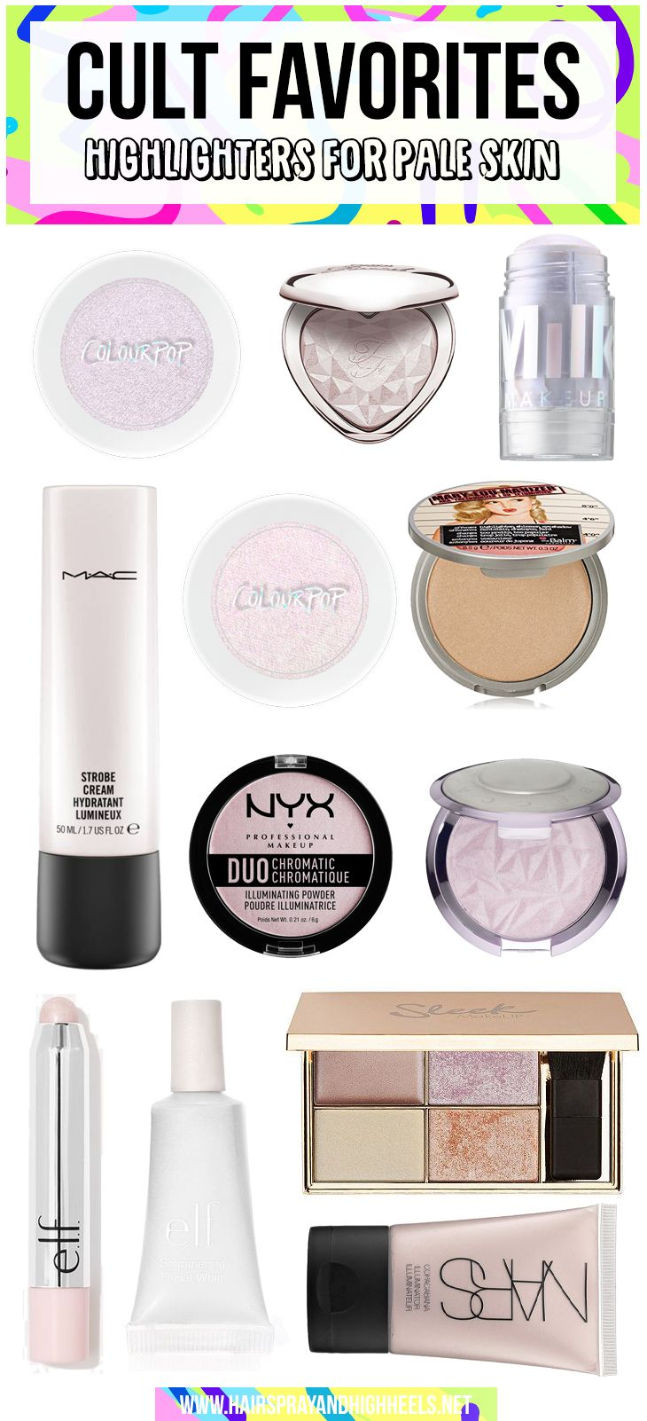 STOP WHAT YOU ARE DOING! Bookmark this list if you're a pale girl, these are the best highlighters for pale skin tones!