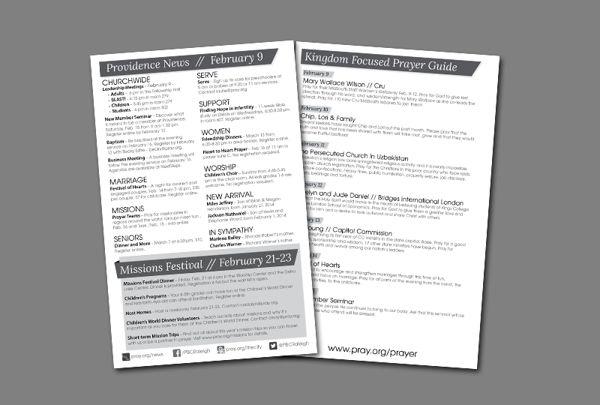 Weekly Church Bulletin Layout by Angie Chiatello, via Behance