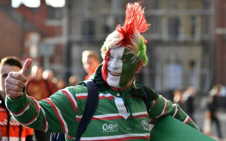 Leicester Tigers supporters arrive prior to the European Rugby Champions Cup match between Leicester Tigers and Racing 92 at Welford Roadin Leicester