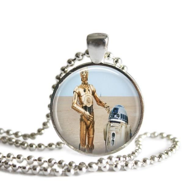 C3PO and R2D2 Silver Plated Picture Pendant Star Wars Necklace