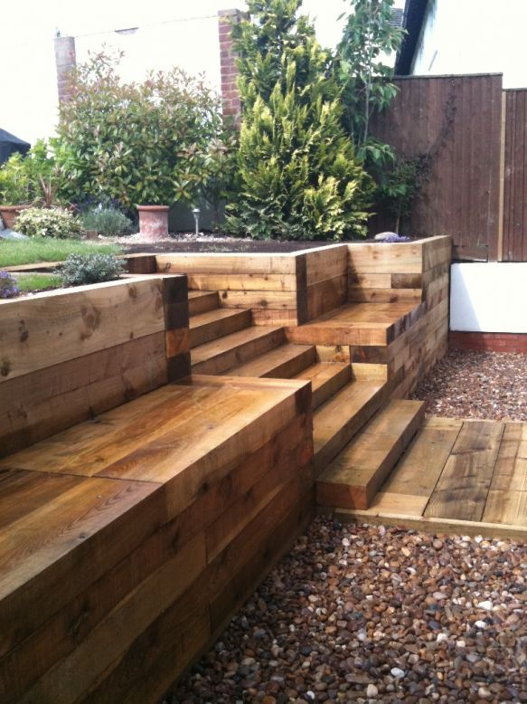 Steps, walls & Patio with new railway sleepers. Pretty good idea for an outside seating area, with stepping up to the rest of the garden