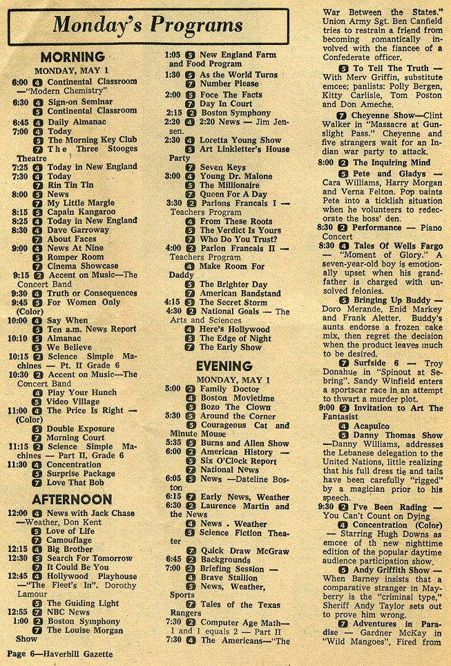 Cool! A page from an American 1970 TV Guide. I mostly grew up in Northern Canada where we only had 2 channels; one French and the other  was hockey night in Canada