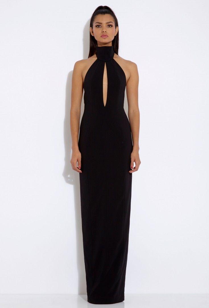 Black dress maxi - Richie Black Halterneck Maxi Dress 120