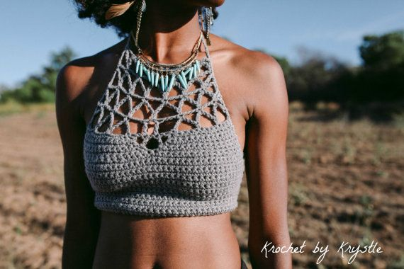 Crochet Crop Top, summer trends, festival fashion, aztec, geometric, triangle // The Amber Crop //