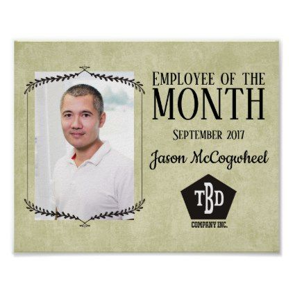 aged paper employee of the month certificate poster