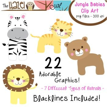 Animal Baby Clip Art! Jungle babies!!  $