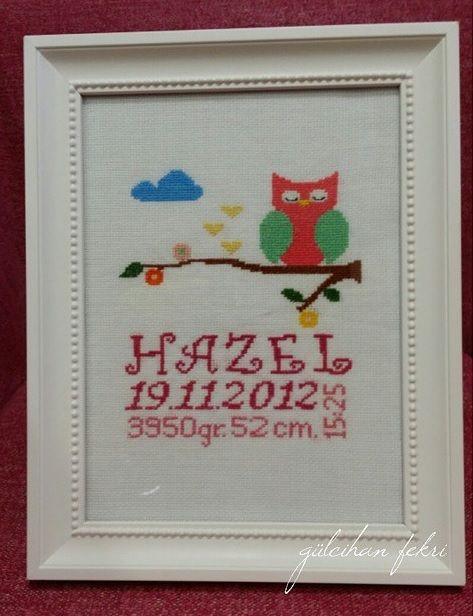 Minik prenses Hazel için baykuşlu doğum panosu
