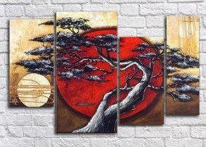 Модульная картина Солнце и луна(Ручная работа маслом)