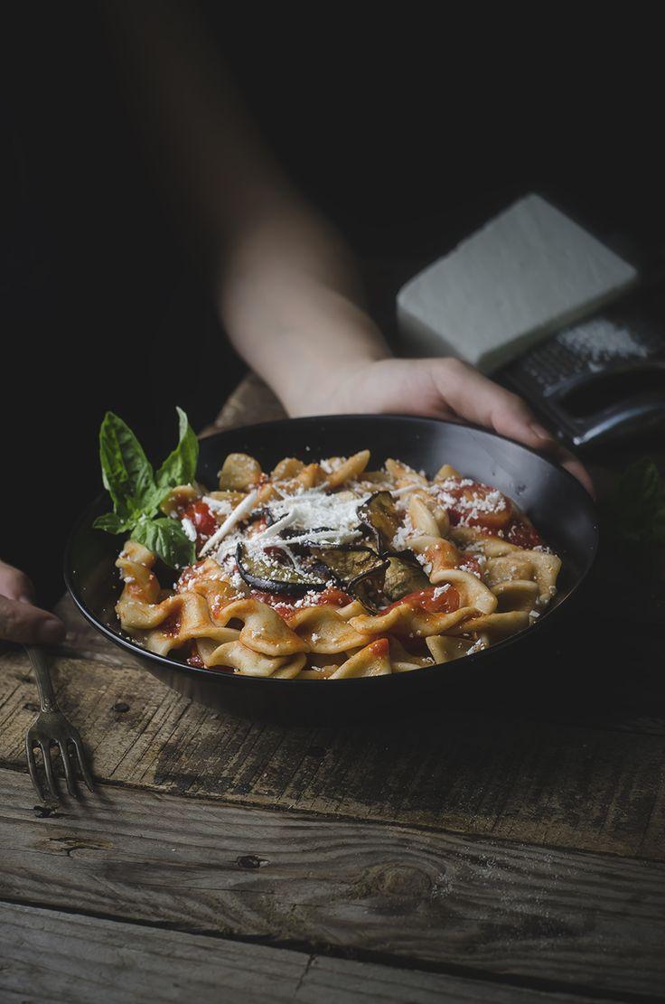 Fusilli homemade alla norma-  Sicilian-Style Pasta with Eggplant, Tomatoes, and Ricotta Salata