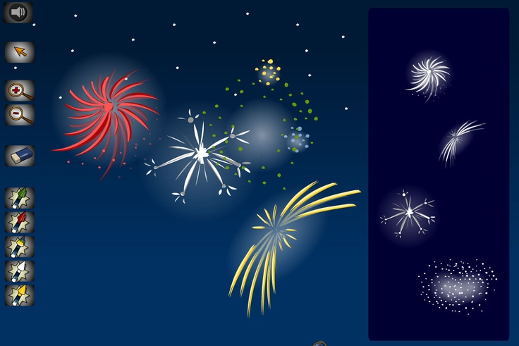 Make on-screen firework explosions. Choose firework explosions by clicking on the right hand buttons, then dragging them into place. The tools on the left can then be used to change the characteristics of the explosions.
