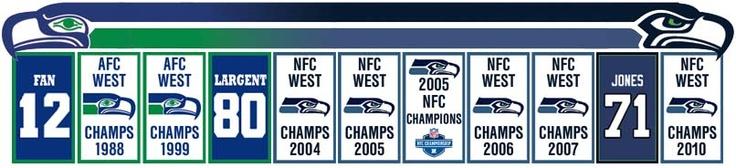 Seahawks banners & retired jerseys