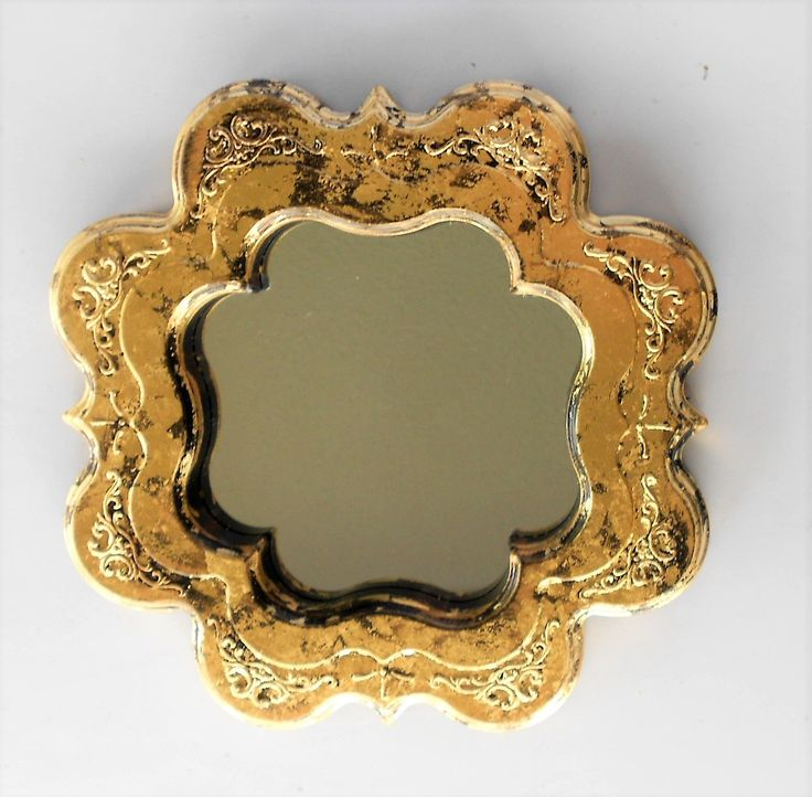 """9.5"""" x 9.5"""",Whimsical Mirror, Mirror Gold, Wall Mirror, Gold Leaf Mirror, Gold Frame Mirror, Square Mirror,Wall Hanging, Wall Decor by GoldLeafGirl on Etsy"""