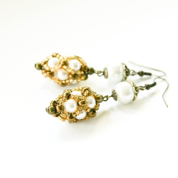 Pearl beaded earrings, white and gold