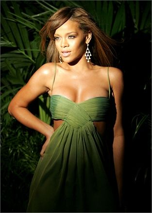Green Chiffon Dress with banded bust, open sides & back, spaghetti straps (Design Unknown; Model: Rihanna)