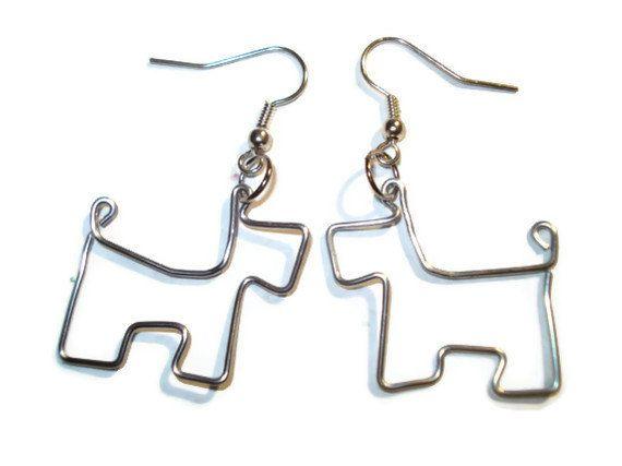 Scottie Dog Wire Paperclip Earrings by DarkDingo on Etsy, $19.99